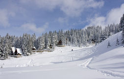 Snow covered winter ski center Royalty Free Stock Images