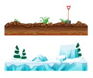 Snow-covered winter surface with ice, snow. Earthen soil with vegetation. Colorful seamless game landscape, terrain gaming interface. Landscape for 2D games royalty free illustration