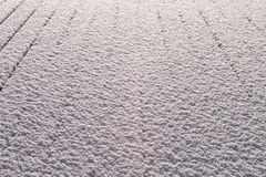 Snow covered wood terrace floor Stock Images