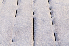 Snow covered wood terrace Stock Photo