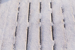 Snow covered wood terrace Royalty Free Stock Photography