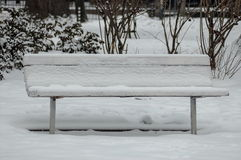 Snow covered wooden park bench in winter forest Stock Photo