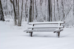 Snow covered wooden sitting bench in park Royalty Free Stock Photo