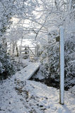 Snow covered woodland footpath Stock Images