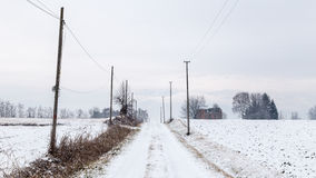 Snow covering an abandoned farm Royalty Free Stock Image