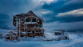 SNOW COVERING BUILDING PATAGONIA ARGENTINA royalty free stock image