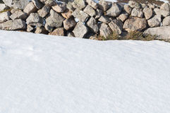 Snow covering the ground and stone wall Royalty Free Stock Photos
