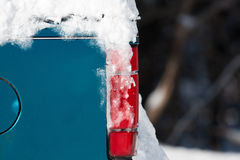 Snow covering part of an old truck Royalty Free Stock Photography