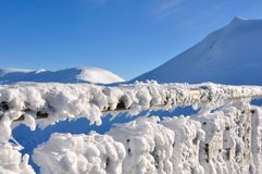 Snow covering a railing Royalty Free Stock Images