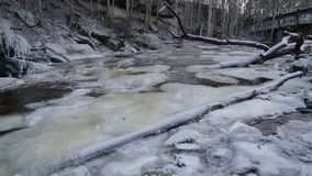 The snow covering the side of the river stock video