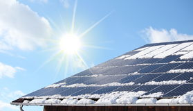 Snow coverred photovoltaic system Stock Photo