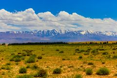 High Atlas Mountains. Snow covers the High Atlas Mountains in Morocco, North Africa royalty free stock image