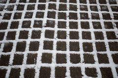 Snow between the cracks. First snow on concrete paving stones Stock Image