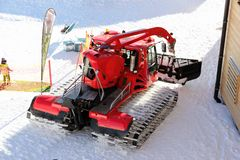 Snow crawler. The Nebelhorn Mountain in winter. Alps, Germany. Royalty Free Stock Photo