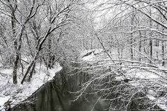 Snow on the Creek. A light Spring snow blankets the Normans Kill Creek in Guilderland, New York Stock Image