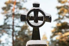 Snow on cross Royalty Free Stock Image