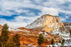 Checkerboard Butte In Winter. Snow dusts Checkerboard Butte in Zion National Park near Kanab, Utah in winter stock images