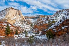 Checkerboard Butte In Winter. Snow dusts Checkerboard Butte in Zion National Park near Kanab, Utah in winter stock photos