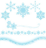 Snow crystal. Set of snow decoration. Vector illustration Royalty Free Stock Photography