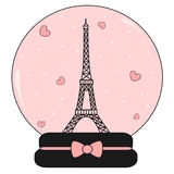 Snow crystal ball with eiffel tower and hearts cute lovely pink and romantic illustration Stock Images