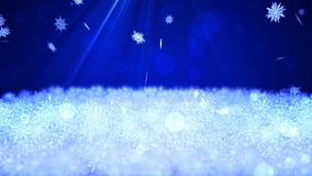 Beautiful winter landscape. Snow crystal scene background. Christmas. Snowflake. Snow forest in sunlight. CG loop animation. Snow crystal falling pattern vector illustration