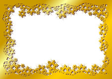 Snow crystals gold frame Stock Images