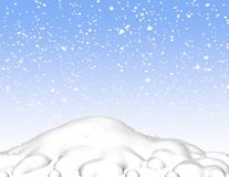 Snow 3d scene background with sky and snowy hill. Stock Photography