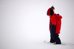 Snow Day. Two year old boy standing in fresh snow.  He is dressed in a navy blue and red coat, snowpants,boots, hat and mittens Royalty Free Stock Images