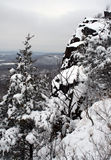 Snow Day. Trees and cliffs in snow Royalty Free Stock Photo