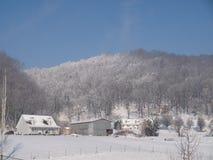 farm snow homes christmas white stock images