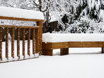 Snow on deck Stock Photo