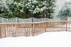 Snow on Deck and Evergreens Stock Images