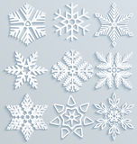Snow decorations. Set of paper snowflakes Stock Photos