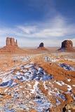 Snow in the desert. Monument Valley Navajo Tribal Park, Utah stock photos