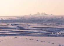 Snow desert on the Ob reservoir stock photo
