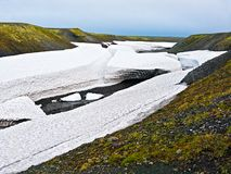 Snow detrital deposits in the summer on New Land Stock Photos