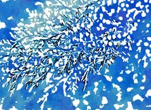 Snow. Digital image. Watercolor stylization. stock illustration