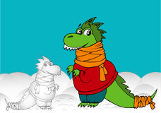 Snow dinosaur. Dinosaur sculpted himself out of the snow Royalty Free Stock Photography