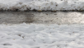 Snow. Dirty snow and ice in Serbia Royalty Free Stock Photos