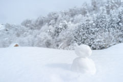 Snow doll in snowy view. Royalty Free Stock Image