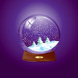 Snow dome. Realistic vector illustration of an snow dome against a purple background with winter landscape - Easy to insert your own object Royalty Free Stock Image