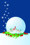 Snow dome with little town. Snow dome with holly and snow Royalty Free Stock Image