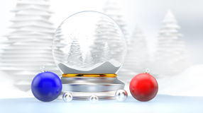 Snow Dome Winter Landscape 3D Royalty Free Stock Photo