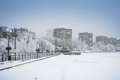 Snow Donetsk, Ukraine. Royalty Free Stock Images