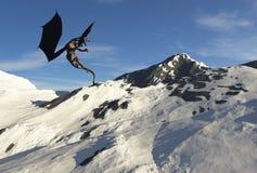 Snow Dragon Peak. A massive dragon hovers over his mountain home Stock Photos