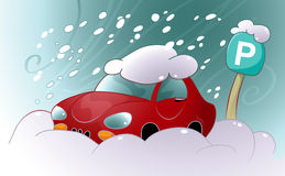 Snow Drift. Vector illustration of a car stuck in the snow and ice in the parking lot Stock Photos