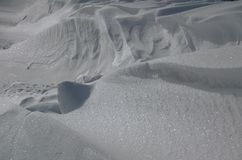 Snow Drift. Snow shaped into a drift by the wind royalty free stock image