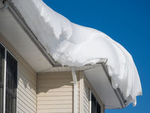 Snow drift on roof Stock Image