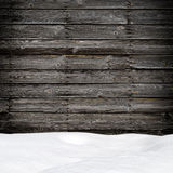 Snow drift on wood boards Stock Photo