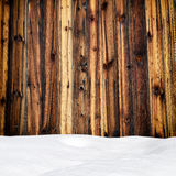 Snow drift on wood boards Stock Photography